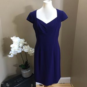 Tahari Purple Short Sleeve Sheath Dress Size 6